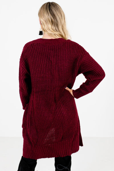 Women's Burgundy Boutique Cardigans with Pockets