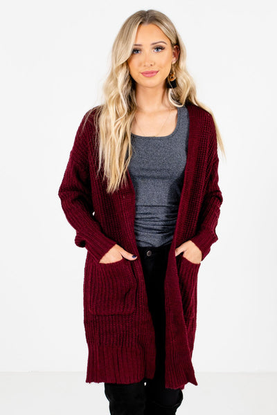 Burgundy High-Quality Knit Material Boutique Cardigans for Women