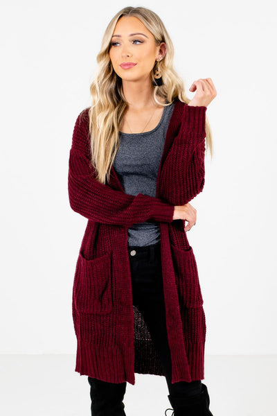 Women's Burgundy Warm and Cozy Boutique Cardigan