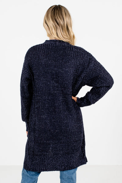 Women's Navy Blue Boutique Cardigans with Pockets