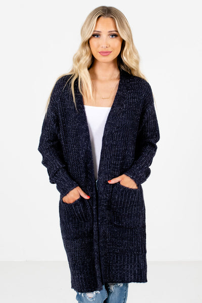 Navy Blue High-Quality Knit Material Boutique Cardigans for Women