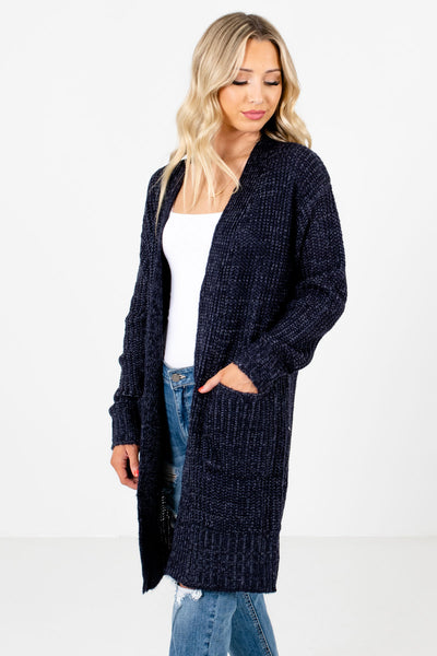 Women's Navy Blue Long Sleeve Boutique Cardigan