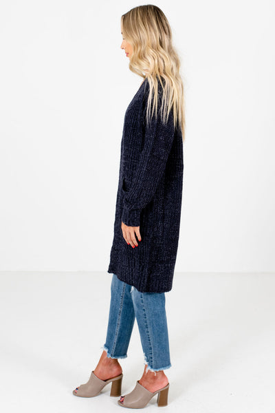 Navy Blue Longer Length Boutique Cardigans for Women