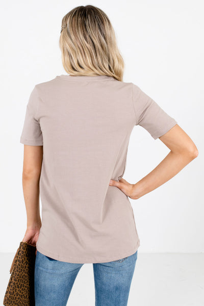 Women's Taupe Brown Short Sleeve Boutique Tops