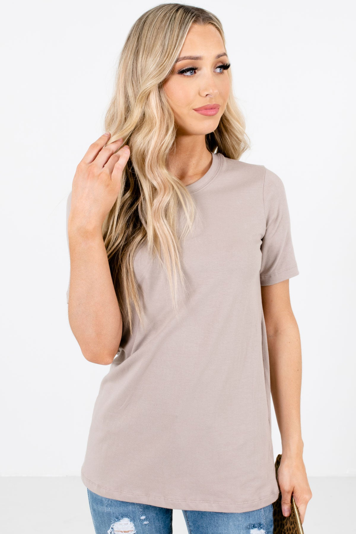 Taupe Brown Round Neckline Boutique Tops for Women