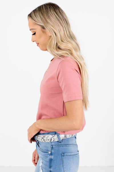 Women's Pink Casual Everyday Boutique Tops