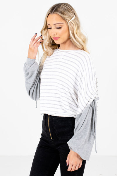 White Bishop Sleeve Boutique Tops for Women