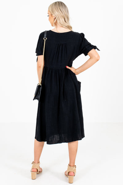 Women's Black Boutique Midi Dresses with Pockets
