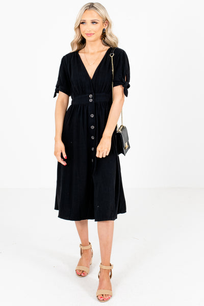 Women's Black Casual Everyday Boutique Midi Dress