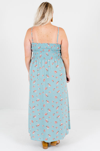 Blue Pink White Floral Polka Dot Plus Size Boutique Maxi Dresses