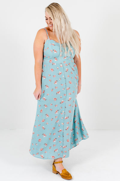 Light Blue Polka Dot Floral Plus Size Boutique Maxi Dresses