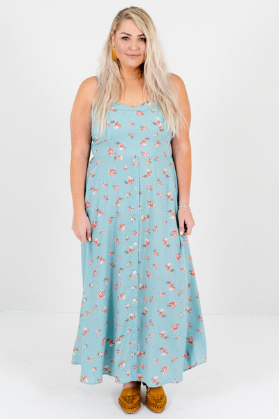 Light Blue Polka Dot Floral Plus Size Maxi Dresses with Buttons