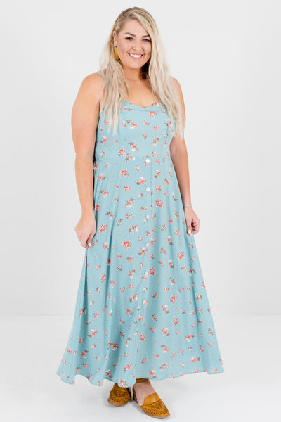 Blue Pink White Polka Dot Floral Plus Size Boutique Maxi Dresses