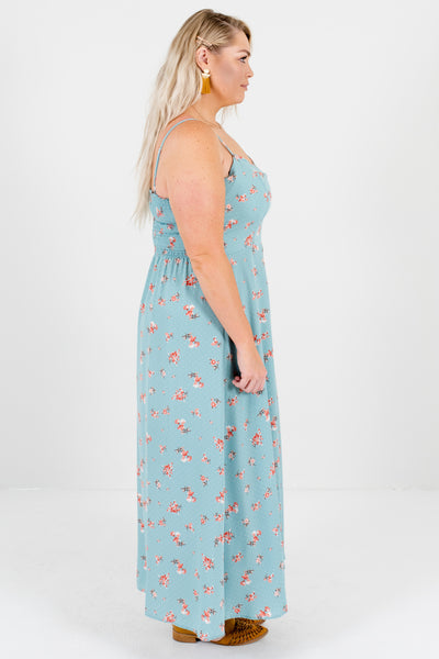 Blue Pink Floral Polka Dot Plus Size Maxi Dresses for Women