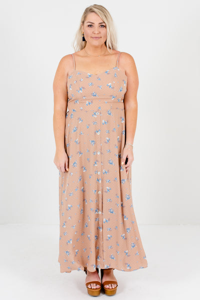 Pink Beige Blue Floral Polka Dot Plus Size Maxi Dress Boutique