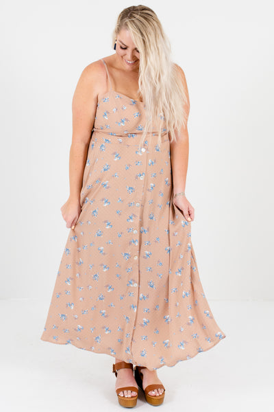 Taupe Pink Plus Size Floral Polka Dot Maxi Dresses Affordable Online Boutique