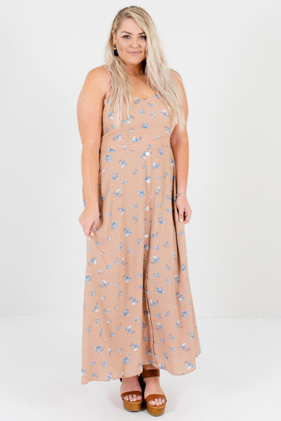 Pink Blue White Plus Size Polka Dot Floral Maxi Dresses Boutique