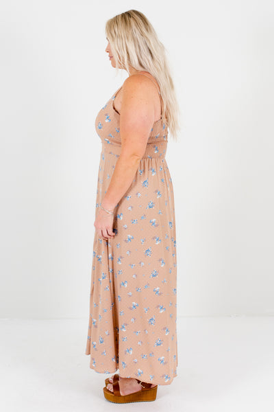 Muted Pink Plus Size Floral Polka Dot Maxi Dresses for Spring