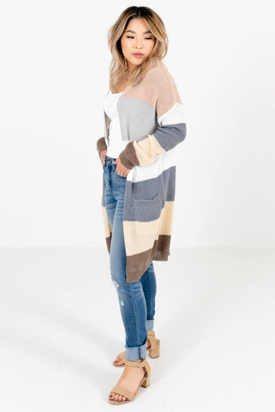 Women's Blue Color Block Style Boutique Cardigan
