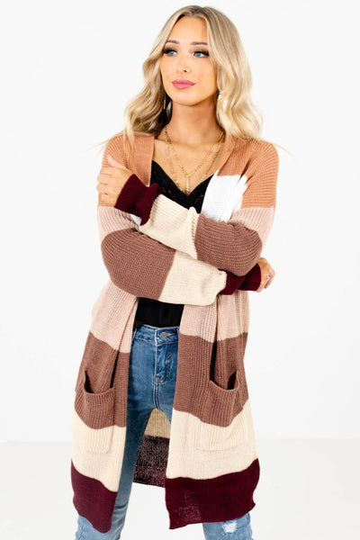 Women's Pink Color Block Style Boutique Cardigan