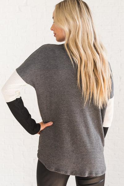 Charcoal Gray, White, and Black Long Sleeve Women's Boutique Top