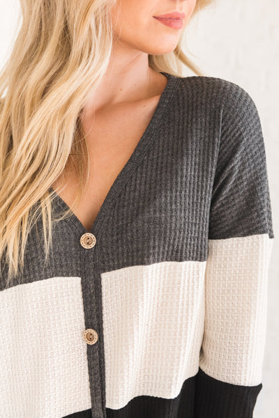 Charcoal Gray, White, and Black Button-Up Boutique Tops for Women