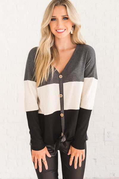 Charcoal Gray, White, and Black Color Block Boutique Top for Women
