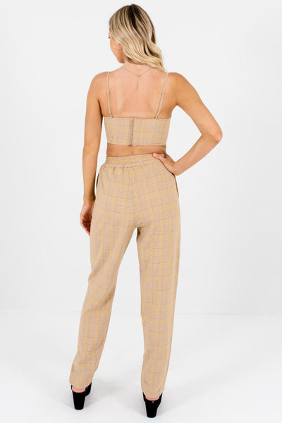 Brown Yellow Plaid Two-Piece Set with Crop Top and Pants