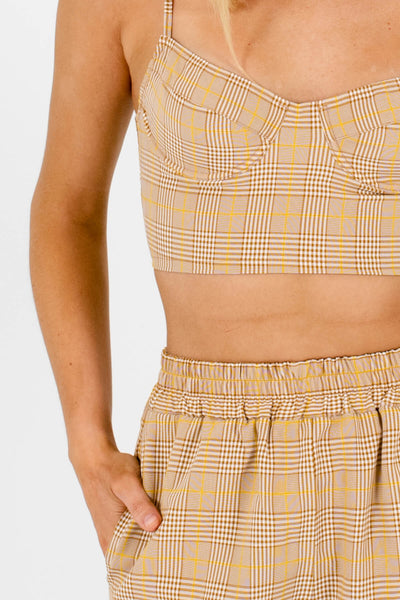 Brown White Yellow Plaid Two-Piece Sets Affordable Online Boutique