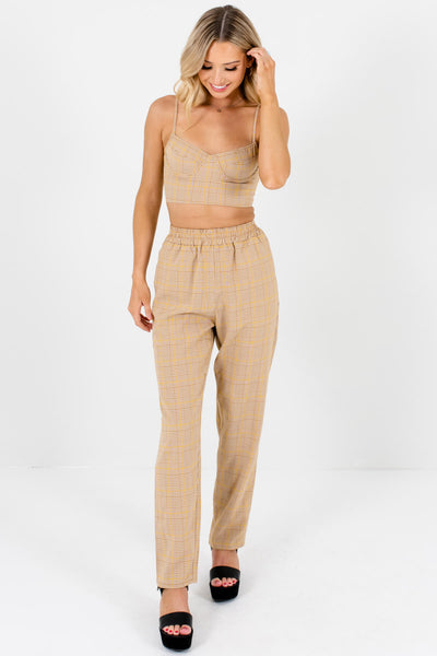 Brown White Yellow Plaid Crop Top and Pants Two-Piece Set