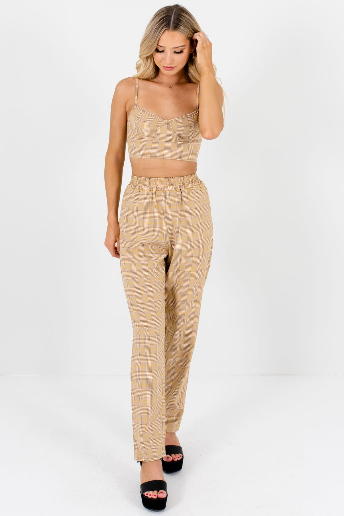 Brown White Yellow Plaid Two-Piece Crop Top and Pants Set
