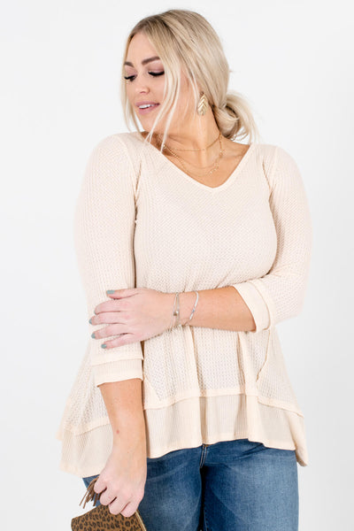 Women's Cream Warm and Cozy Boutique Tops