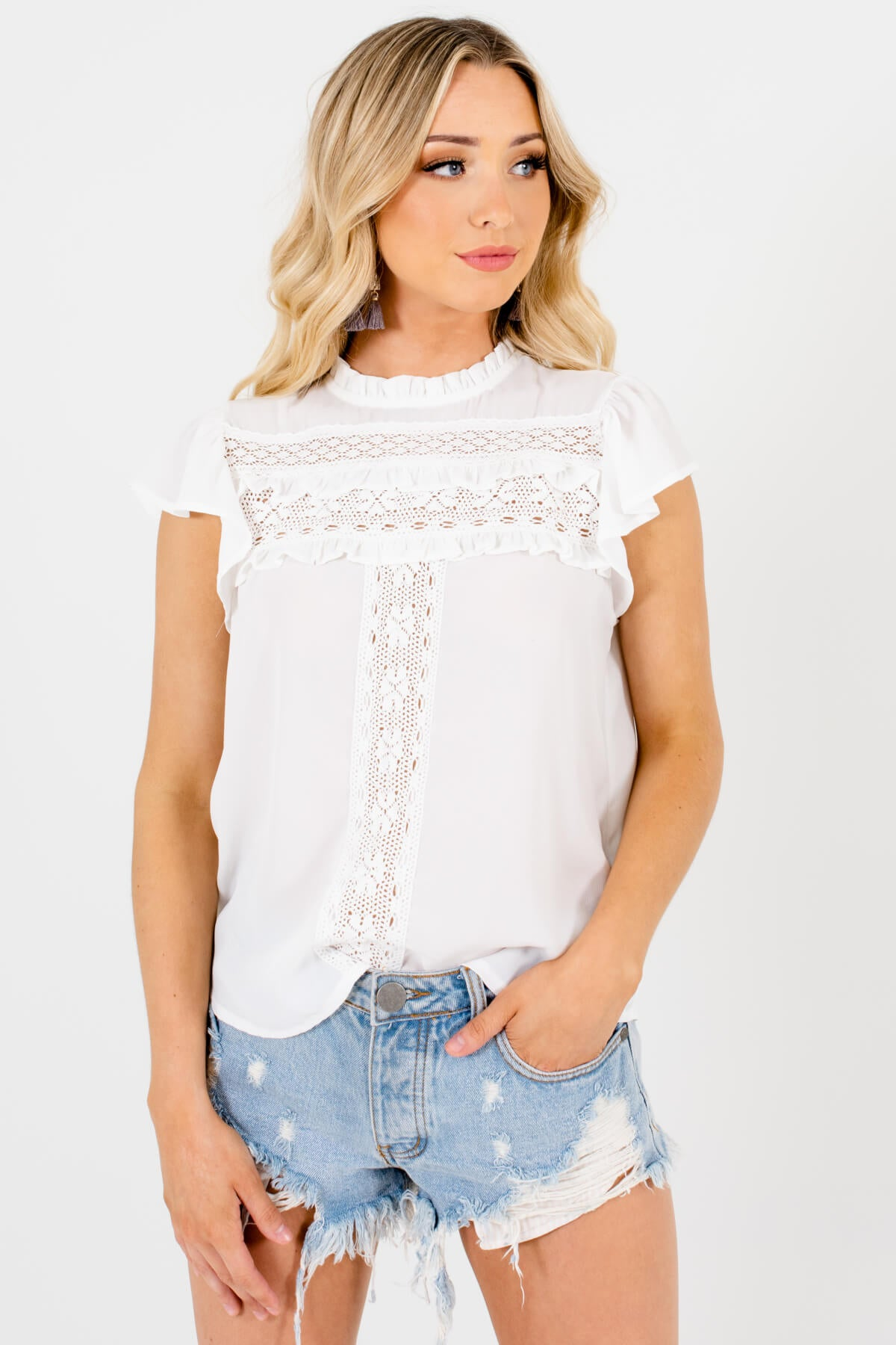 White Ruffle Accented Boutique Blouses for Women