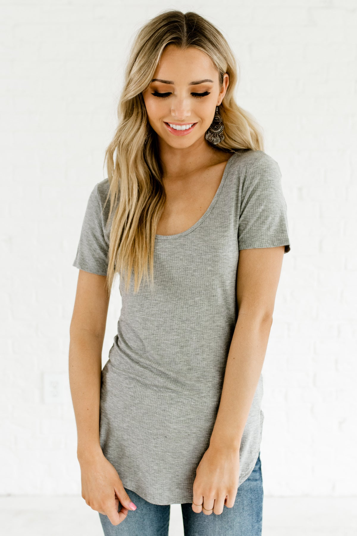 Heather Gray Women's Comfortable and Casual Boutique Tops