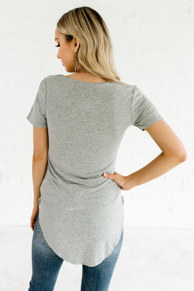 Heather Gray Women's High-Low Hem Boutique Tops