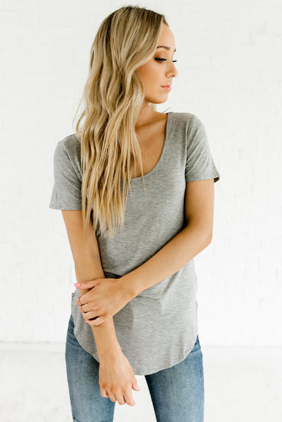 Heather Gray Cute and Affordable Online Boutique Tops