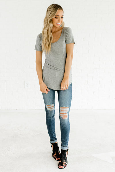 Heather Gray Women's Scoop Neckline Boutique Tops