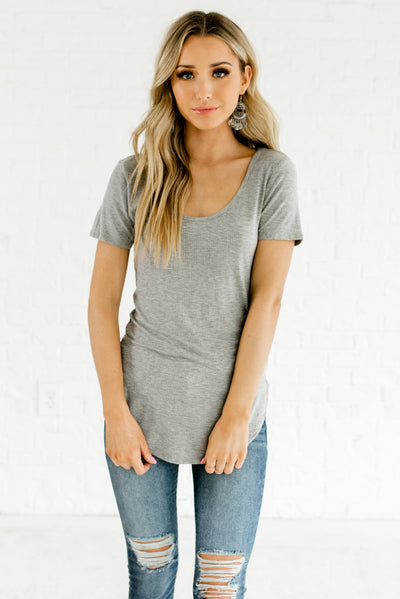 Heather Gray Ribbed Material Boutique Tank Tops for Women