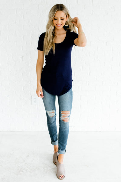 Navy Blue Women's Basic Boutique Tops
