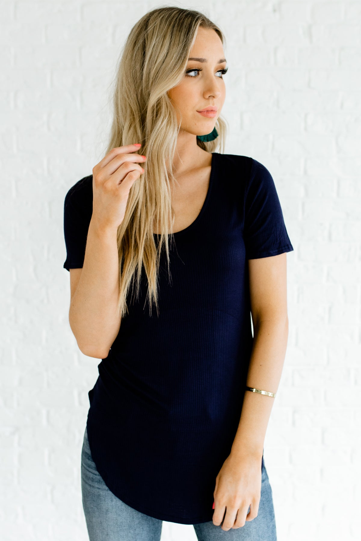 Navy Blue Ribbed Material Boutique Tops for Women