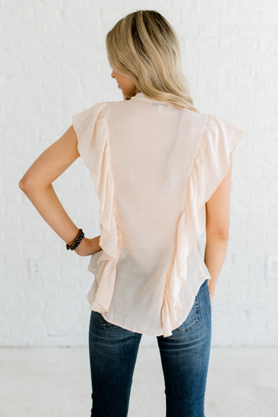 Peachy Beige Women's Boutique Shirt with Ruffled Detailing