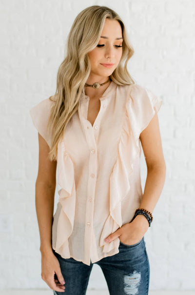 Peachy Beige Button-Up Boutique Shirts for Women