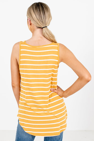 Women's Mustard Yellow Round Neckline Boutique Tank Top