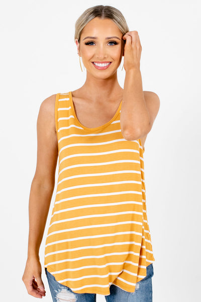 Mustard Yellow and White Striped Boutique Tank Tops for Women