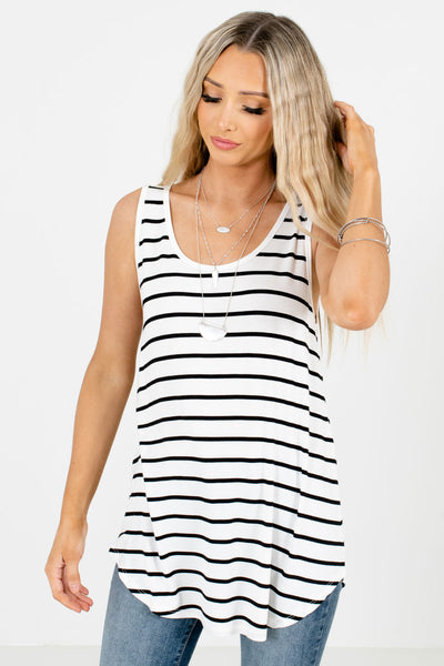 White and Black Striped Boutique Tank Tops for Women
