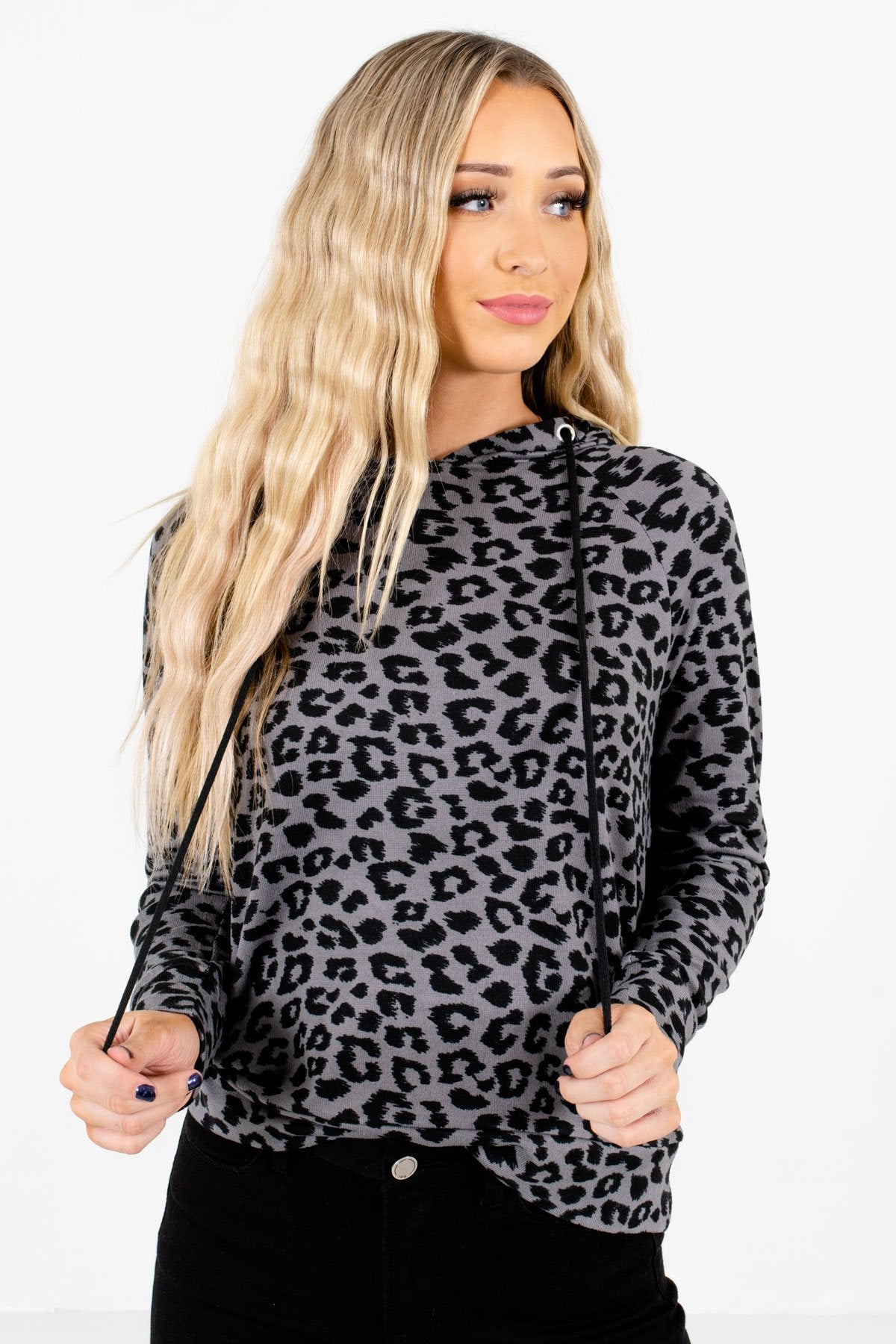 Charcoal Gray Black Leopard Print Cute Soft Boutique Hoodies