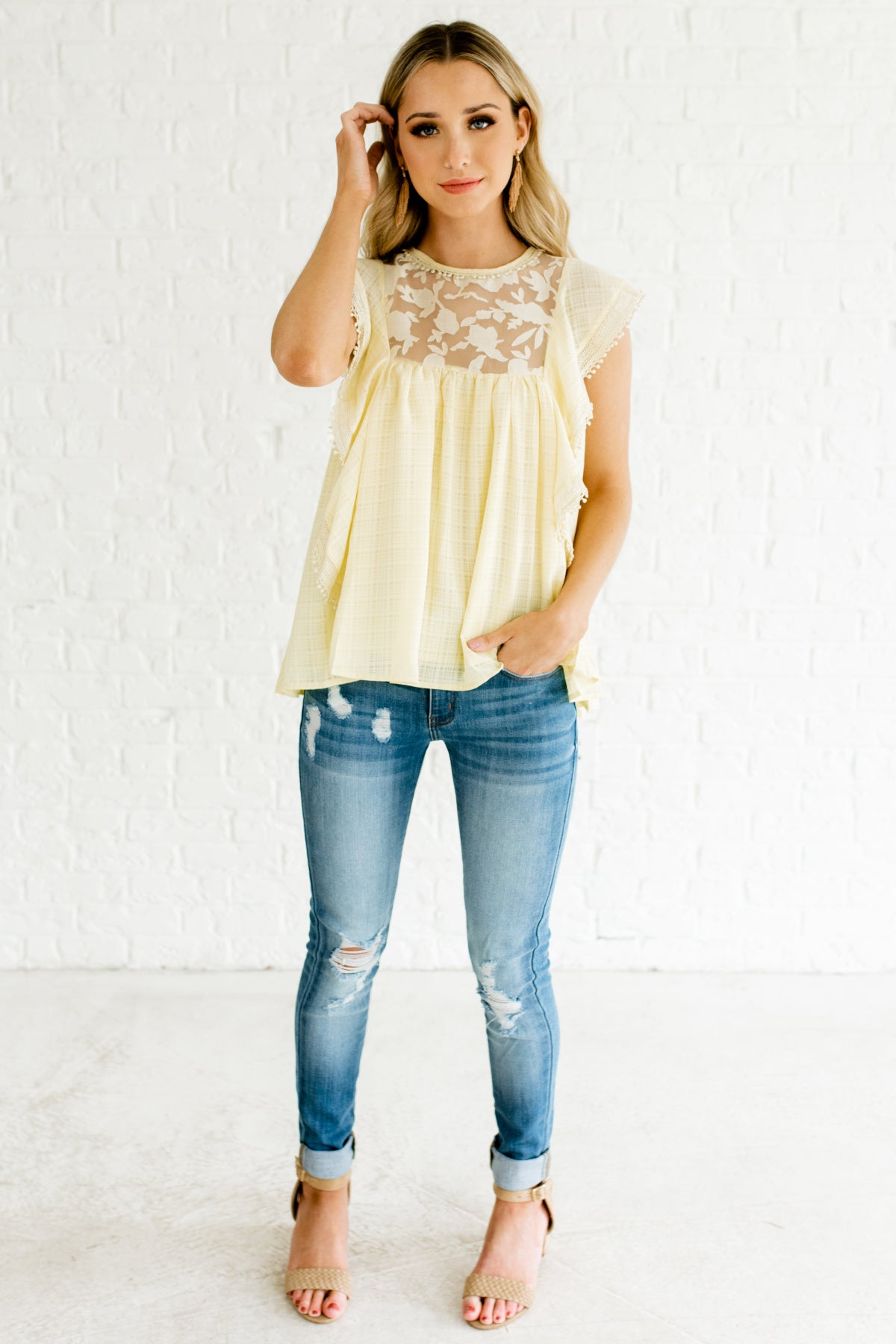 b60a46654a3fa Pastel Yellow Butterfly Sleeve Ruffle Tops Affordable Online Boutique