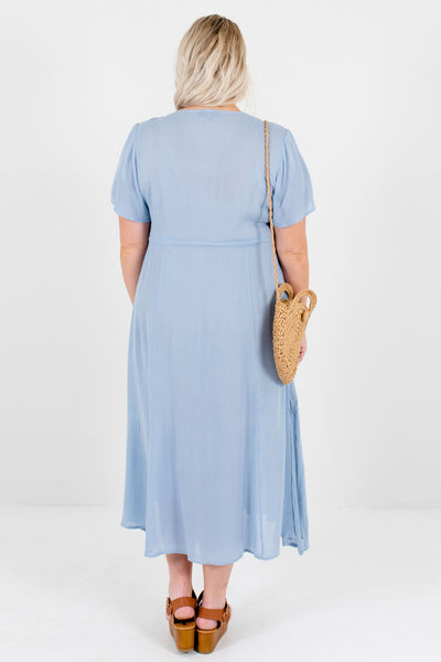 Blue Plus Size Boutique Midi Dresses with Embroidery and Tie-Front