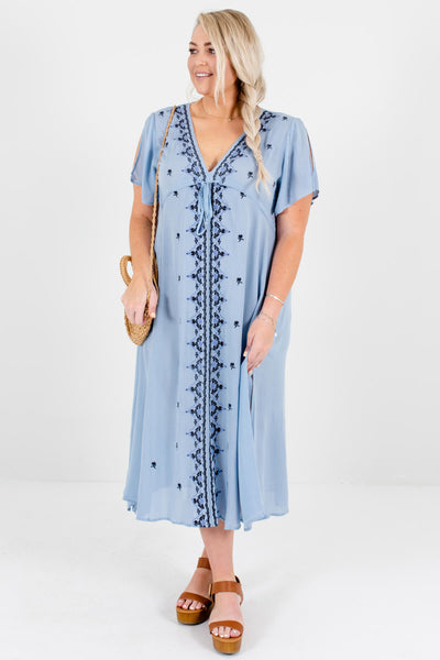 Light Blue Embroidered Plus Size Midi Dresses Affordable Online Boutique