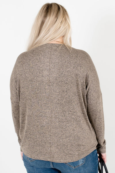 Women's Brown Long Sleeve Boutique Tops